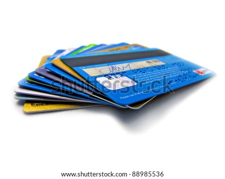Credit and debit card stack - stock photo