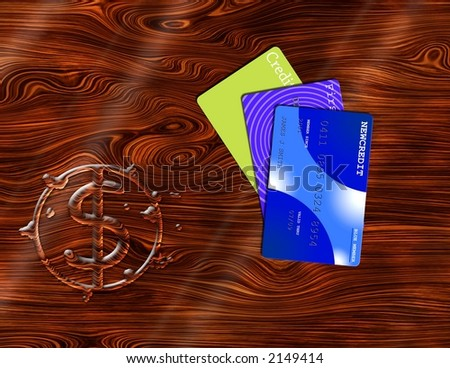 Credit and $ symbol puddle on desktop - stock photo