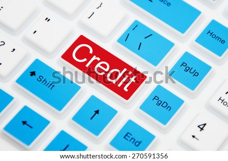 Credit button on computer keyboard. Online Banking Concept