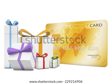 Credit card and a gifts box.Isolated on white background.3d rendered. - stock photo