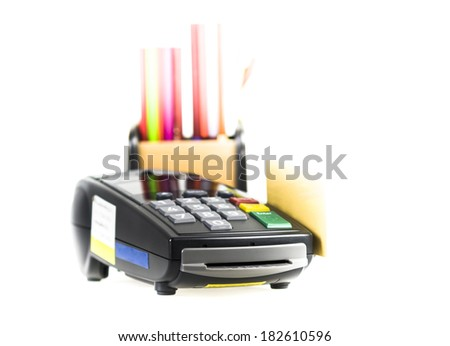 Credit card and card reader machine and  box of pencil on background ,isolated on white background - stock photo