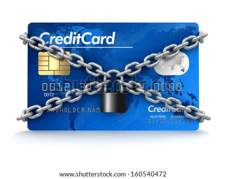 Credit Card and lock (clipping path included) - stock photo