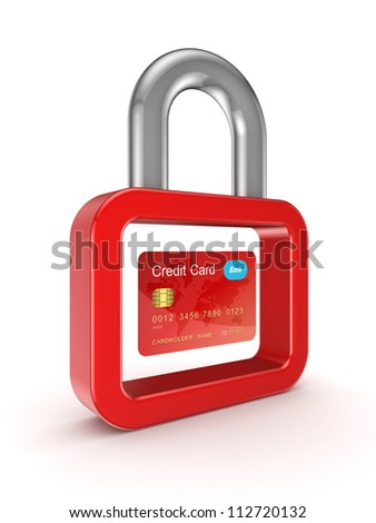Credit card and lock symbol.Isolated on white background.3d rendered. - stock photo