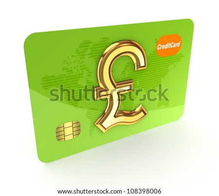 Credit card and pound sterling sign.Isolated on white background.3d rendered.