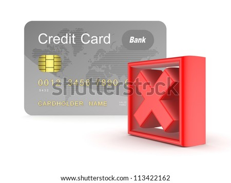 Credit card and red cross mark.Isolated on white background.3d rendered. - stock photo