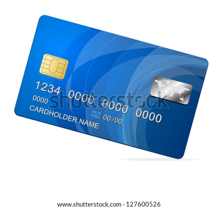 Credit Card blue icon Isolated on white
