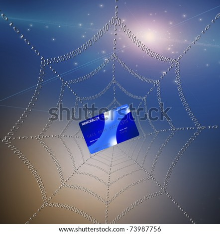 Credit card caught in web - stock photo