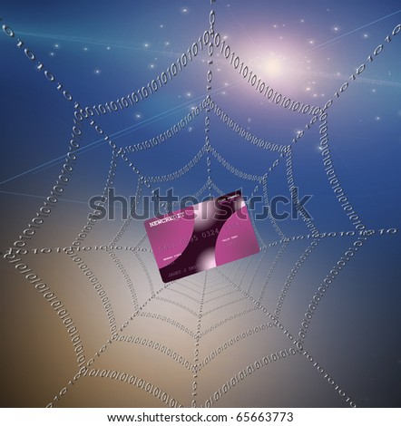 Credit card caught in web not actual credit card - stock photo