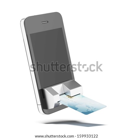credit card connected to mobile phone - stock photo