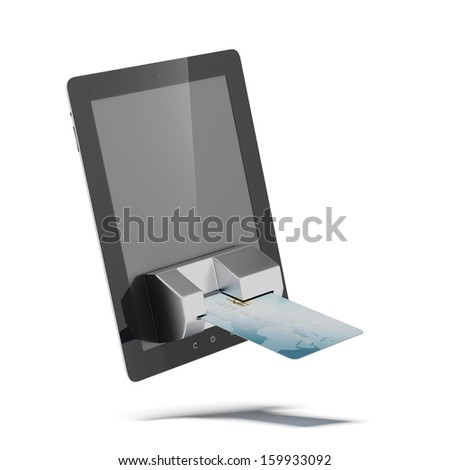credit card connected to tablet pc - stock photo