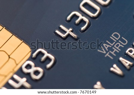 Credit card extreme close-up photo