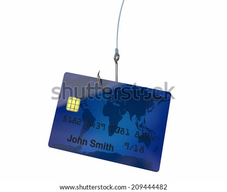 Credit card hanging from a fishing hook can have many meanings - stock photo