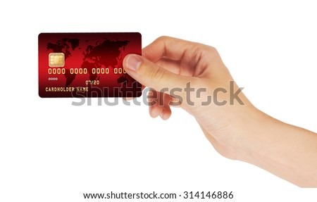Credit Card in hand, isolated on white background - stock photo