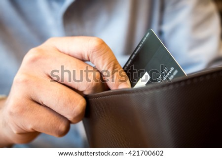credit card in wallet. - stock photo