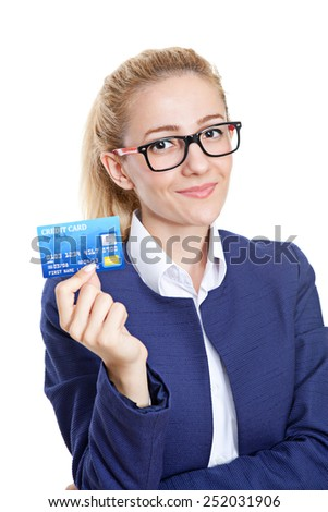 Credit card is the perfect solution on the white - stock photo