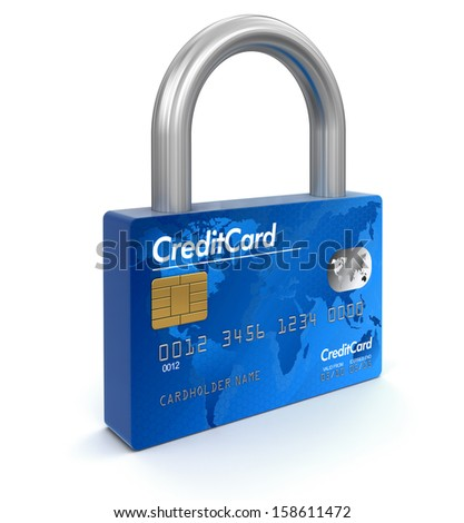 Credit Card - lock (clipping path included) - stock photo