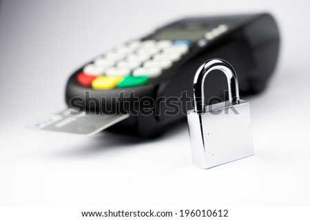 Credit Card machine for payment security with key lock & padlock - stock photo