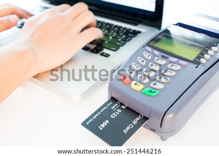 Credit Card Machine In The Store - stock photo