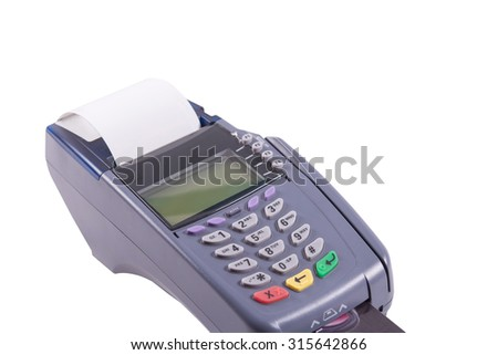 Credit card machine on Isolated white background
