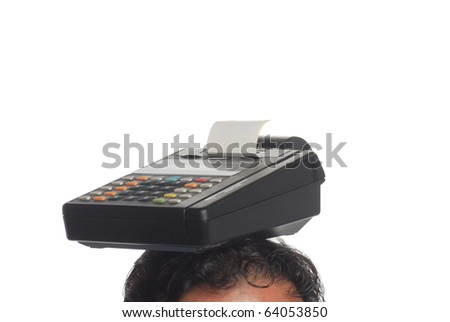credit card machine over my head - stock photo