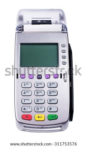 Credit card machine reader isolated on a white background  - stock photo