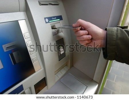 Credit card, maschine - stock photo