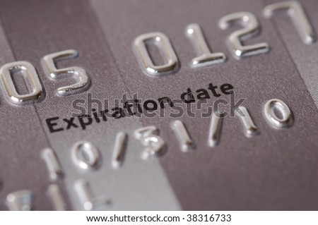 Credit card numbers shot close up showing the words Expiration Date and showing the date. - stock photo