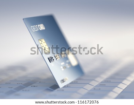 Credit Card on Computer Keyboard - 3d rendered with high differential focus - stock photo