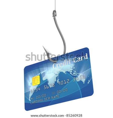 credit card on fishing hook - stock photo