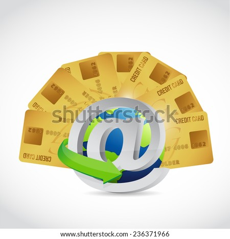 credit card online concept illustration design over a white background - stock photo