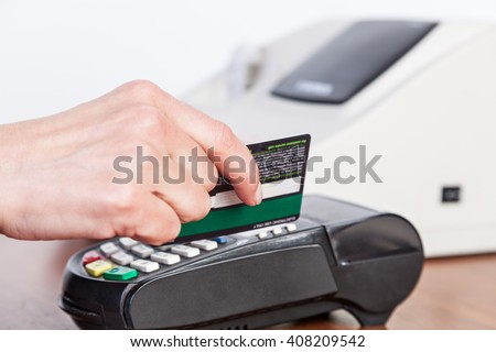 Credit card payment, buy and sell products and service. Studio shot. Selective Focus.