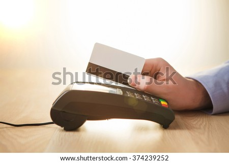 Credit card payment, buy and sell products or service - stock photo
