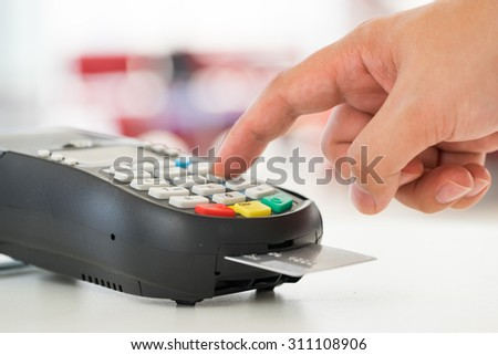 Credit card payment, buy and sell products & service - stock photo