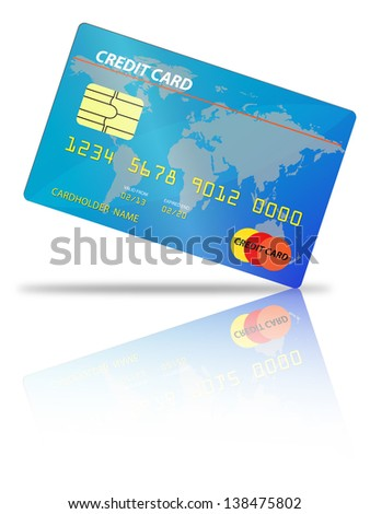 credit card placed on an angle with shadow and reflection on a white - stock photo