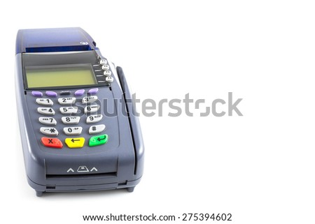 credit card reader machine on white background