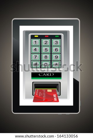 Credit card scanning terminal coming from tablet PC screen / Internet credit card - stock photo