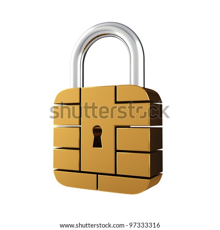 Credit card security chip as padlock , isolated on white - stock photo