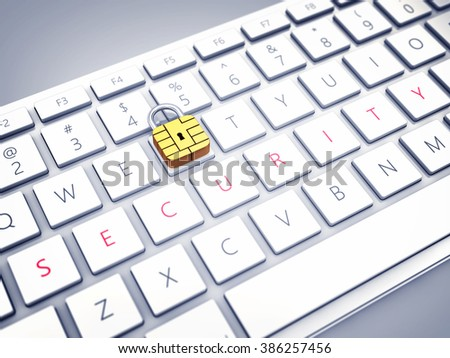 Credit card security chip as padlock on a computer keyboard , Safe and secure internet banking