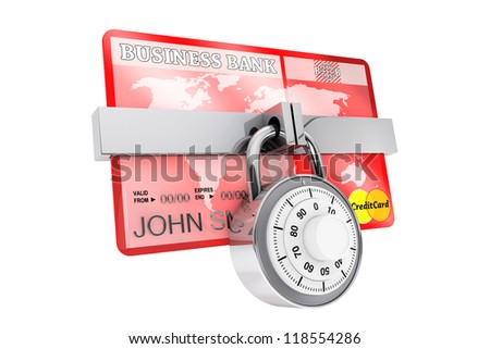 Credit Card Security concept. Credit card with security lock on  on a white background - stock photo