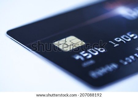 Credit card, selective focus