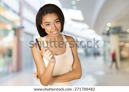 Credit Card, Shopping, Women. - stock photo