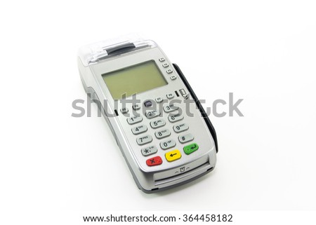 Credit card terminal isolated on white background - stock photo