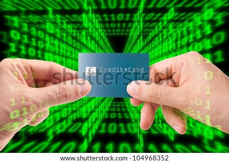 Credit card transaction on the web - stock photo