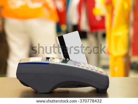 Credit Card With Credit Card Machine In The Store : Selective Focus - stock photo