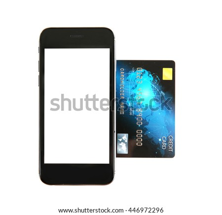 Credit card with phone on white background - stock photo