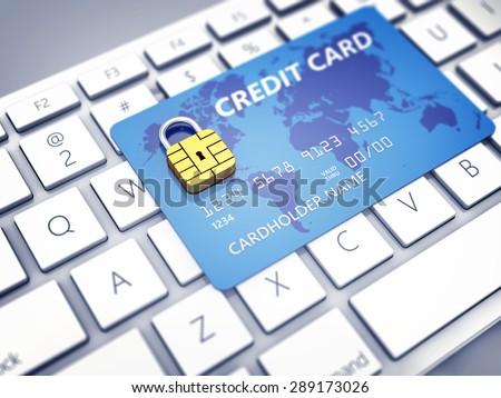 Credit card with security chip as padlock on a computer keyboard , Safe online shopping - stock photo