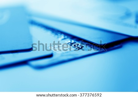 Credit cards. Blue toned - stock photo