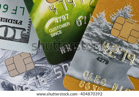 Credit cards in shallow focus. Closer-Up Credit card. Credit Card with chip. Credit cards for payment. Several credit cards. Credit card number. Part credit card. - stock photo