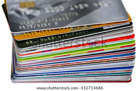 Credit cards in shallow focus. Credit card and money. Closer-Up Credit card. Credit Card with chip. Credit cards for payment. Several credit cards.  Part credit card. - stock photo