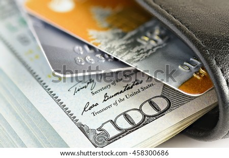 Credit cards in shallow focus. Credit cards for payment products with your business - stock photo
